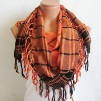 Halloween Fabric Scarf, Square Pattern, Orange Black, Fringed Scarf, Unisex Adult Scarves. Fashion.