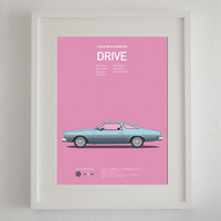 Drive inspired movie poster, art print A3 Cars And Films