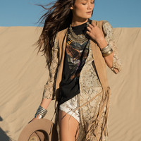 Born To Be Wild Suede Tassel Vest - Camel