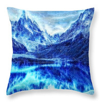 Decorative accent throw pillow.Game of Thrones - Winter is coming, beautiful digital art on pillow Fantasy Blue Landscape artwork