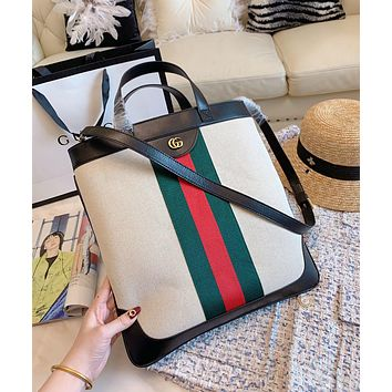 GUCCI Newest Popular Women Men Leather Stripe Handbag Tote Shoulder Bag Crossbody Satchel Black