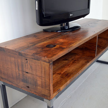 Reclaimed Barn Board TV Stand / Media Console Cabinet with Steel Frame