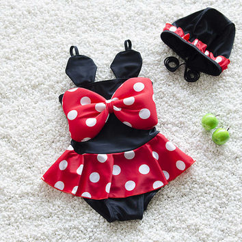 Girls Minnie Mouse Swimwear Red Polka Dot Ruffle Swimsuit Bikini Swim With Bow Baby Girl Toddler Beach one piece with Cap