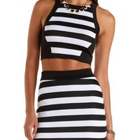 Black/White Striped Racer Front Crop Top by Charlotte Russe