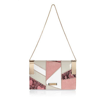 Pink patchwork chain handbag - clutch bags - bags / purses - women