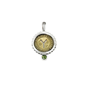 August NYC Authentic Subway Token Peridot Sterling Silver Charm Necklace