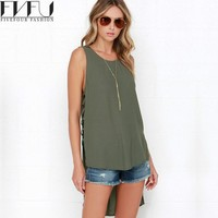 New Fashion Tank Top Women Elegant Solid Summer Tops 2017 Sexy Hollow Out Side Vintage Color High Low Loose Tank Top Plus Size