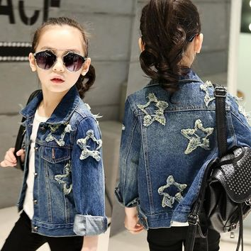 Trendy Girls denim jacket 2018 new spring bling sequins five-pointed star washed fashion coat kids autumn long sleeved casual clothes AT_94_13