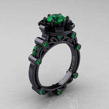Caravaggio 14K Black Gold 1.0 Ct Emerald Engagement Ring R631-14KBGEM