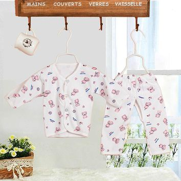 High Quality 2Pcs Newborn Baby Clothing 0-3 Month Baby Clothes Sets Cotton Cartoon Gowns Button Tops+Pants Underwear