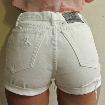 High Waisted Shorts Size 2 / 3 White Distressed Cuffed Denim Santa Barbara Shorts Milky Fr3sh
