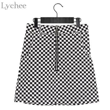 Lychee Summer Women Skirt Plaid Zipper Circle Slim Mini Skirt Harajuku Punk Sexy A-line Skirt