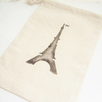 Favor Gift Bag, Muslin Bag, Glittery Eiffel Tower Goodie Bag, Party Favor, Black, Gift Bag, Stenciled Bag, Gift Wrap, Travel Tote