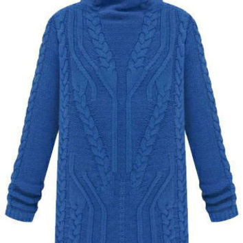 Blue Turtleneck Cable-Knit Sweater