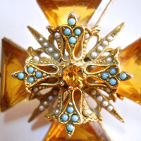 Signed ART Maltese Cross Brooch, Glass Topaz Turquoise Rhinestone, Vintage