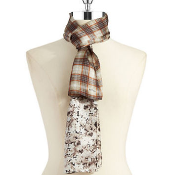 Echo Floral and Plaid Silk Scarf