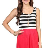 sleeveless dress with black and white stripe bodice and a-line skirt