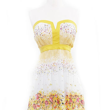 Le Fleur Printed Yellow & White Floral Mini Dress - Unique Vintage - Homecoming Dresses, Pinup & Prom Dresses.