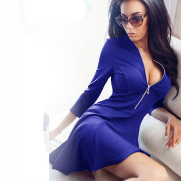 Spring Summer Fashion Ladies Pleated Dress Women Sexy V-Neck Party Mini Dress Casual 3/4 Sleeve Chest Zipper Solid Dresses