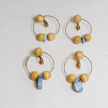 Clip On Beaded Hoop Earrings, Wood Beads, Blue Ceramic Fossil Beads, Hippie Jewelry, Boho Hoop Earrings, Ethnic Hoop Earrings, Tribal