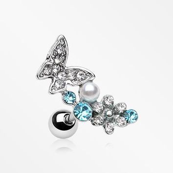 Butterfly Flower Sparkle Cartilage Tragus Earring