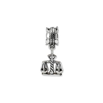 Sterling Silver Scales of Justice Dangle Bead Charm