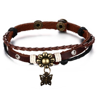 Leather Bracelet for Women Multilayer Charm Bangle Wrap,21.6cm
