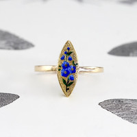 Victorian 14k Enamel Flower Ring, Antique 14k Yellow Gold Forget Me Not Motif Navette, Bohemian Love Token Bridal Friendship Ring Jewelry