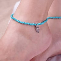 Cute Ladies Jewelry Sexy Shiny Gift New Arrival Stylish Summer Turquoise Stretch Anklet [8080500487]
