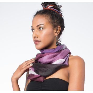Mixed Silk Infinity Scarf: Plum and Blush