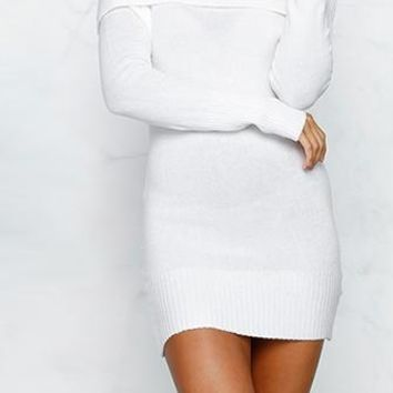 Time To Fly White Long Sleeve Off The Shoulder Bodycon Mini Sweater Dress