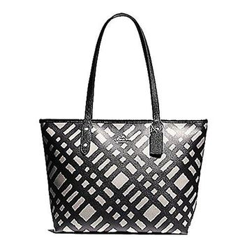 Coach Wild Plaid City Zip Leather Tote Purse - #F22248 COACH bag