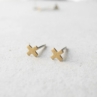 X Earring Studs - Golden Brass X Jewelry - Sterling Silver Posts (E210)