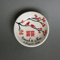Hand painted Wedding Ring Pillow Alternative , Wedding Ring Dish Love birds