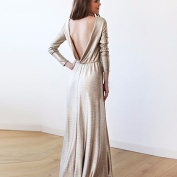Light Gold Backless Maxi Dress with Long Sleeves