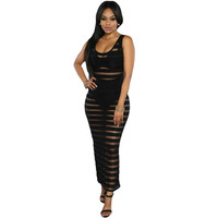 Good Stretch Backless Long Bodycon Bandage Dress Sheer Back Split Sexy Dress  Party Night See Through Club Dress Tight SM6