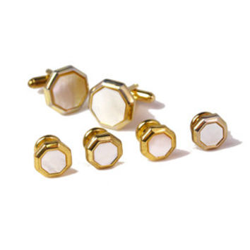 Victorian Gold Button Cufflinks Mother of pearl-DD-FS13G-07800