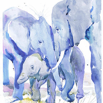 Family of elephants, watercolor, wildlife,   wall decor,  animal art, art print, nursery decor, mothers day gift, children art, Illustration