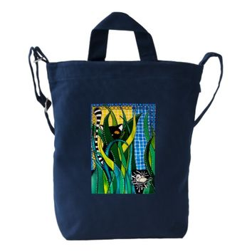 Hunter in Camouflage - Funny Cat Art Duck Bag