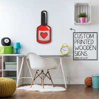 Red Nail Polish  Custom Wood Patch Printed Sign Unique Trendy Game Room
