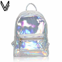 VEEVANV Silver Hologram Laser Backpack