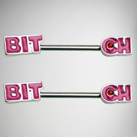 14 Gauge Bitch Pink Nipple Barbells