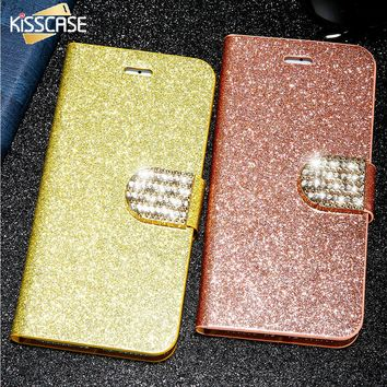 KISSCASE Luxury Stand Wallet Pouch Case For iPhone 6 6S 7 Plus 5S 5C 4 Card Slot Bling Diamond Cover For Samsung S6 S7 Edge Plus