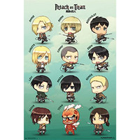 Attack on Titan - Chibi Characters 22x34 Standard Wall Art Poster
