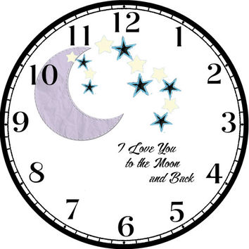 """Purple Moon with Blue Stars Art - -DIY Digital Collage - 12.5"""" DIA for 12"""" Clock Face Art - Crafts Projects"""