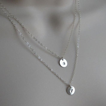 Initial Necklace. Sterling Silver. 2 Initial Necklace. Double Strand Layer Necklace. Monogrammed Jewelry. Sister Necklace. Modern. Everyday.