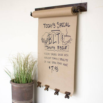 Hanging Note Roll with  4 Clips in Antique Brass ~ Medium