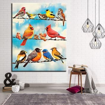 DIY Painting By Numbers Animals Birds On Wire Canvas Kits Coloring Hand Paint Cardinal Sparrow Oil Pictures Home Decor Wall Art