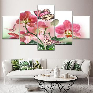 Wall Art Modern Print Panel Canvas Picture 5 Pieces Pink Floral Flower Butterfly