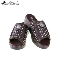Montana West Slip-On Brown Studded Wedge Sandals, Medium/Average Width Shoes